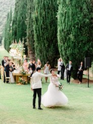 Outdoor wedding reception in Tuscany