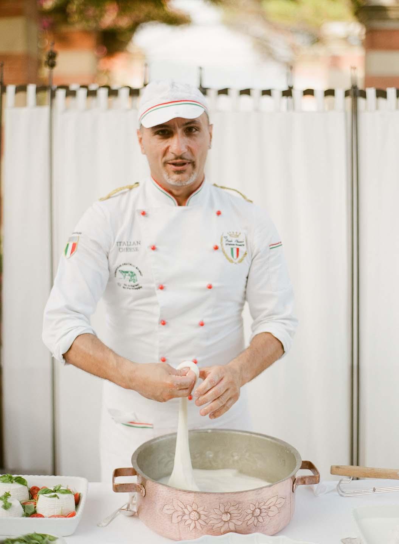 fresh mozzarella prepared on spot