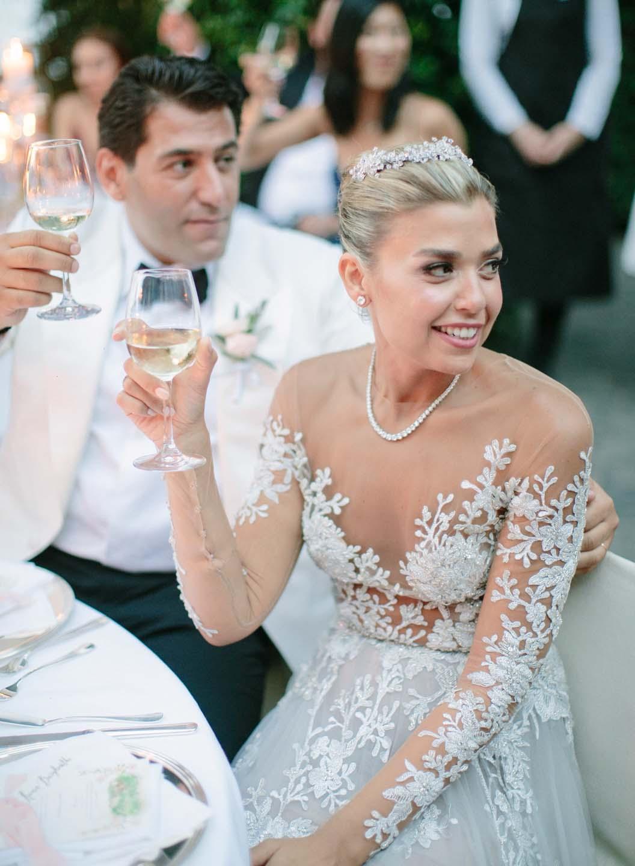 bridal couple toasting