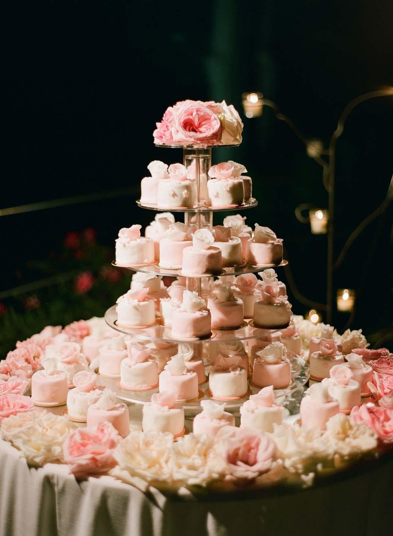 pink and white wedding cake