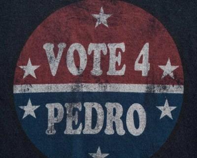 TEE SHIRT – D LAB – MANCHE COURTE BLEU «VOTE 4 PEDRO» – Size S