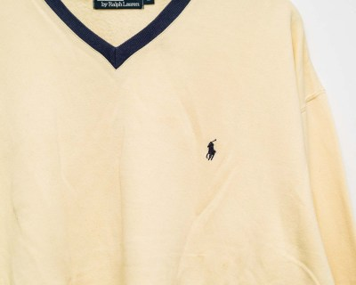 PULLOVER – POLO RALPH LAUREN – SWEATSHIRT V NECK LOGO EMBROIDERED – Size XL