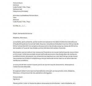 exemple lettre de motivation demande de bourse