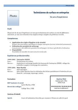 Exemple De CV Femme De Mnage Exemples De CV