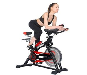 Ainfox Exercise Spinning Bikes with Flywheel Fitness LED Display Sports Home Office Black and Red