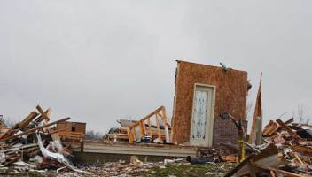 A destroyed home in Washington, Ill.