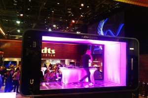 A performer rocks the DTS mobile phone stage.