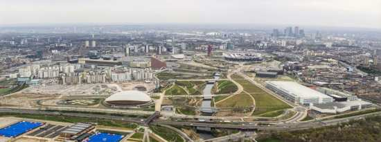 Aerial photography over the Queen Elizabeth Olympic Park. Photo credit: Anthony Charlton