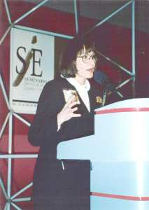 E. Jane Lorimer speaking at Cintermex in Monterrey, Mexico during her TSB days.