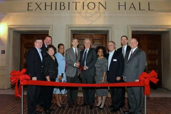 Pictured are (left to right) Richard A. McDonald, Pasadena Center Operating Co. board member; Matthew Lancey, Pasadena Center Operating Company director of facility operations; Dianne Philibosian, Pasadena Center Operating Co. board member; Phlunte' Riddle, Pasadena Center Operating Co. board member; Pasadena Mayor Bill Bogaard; Gene Gregg Jr., chair of the Pasadena Center Operating Co. board; Felicia Williams, Pasadena Center Operating Co. board member; Pasadena City Councilman Terry Tornek; Dale Brown, Onyx Architects; and Michael Ross, Pasadena Center Operating Company chief executive officer.