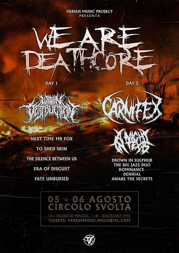 ERA OF DISGUST: live al WE ARE DEATHCORE FEST il 5 agosto a rozzano (MI). Scopri i dettagli del festival