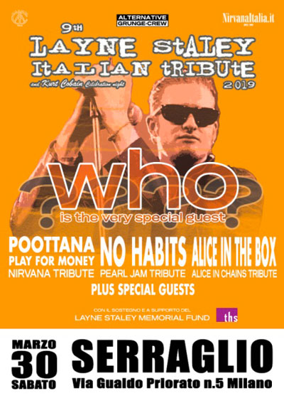 Milano come Seattle: l'omaggio italiano a Layne Staley, Kurt Cobain e Chris Cornell. Il 30 Marzo, benefit show al Serraglio di Milano