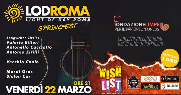 Arriva la Springfest al Wishlist Club di Roma. Raccolta fondi alla lotta al Parkinson!