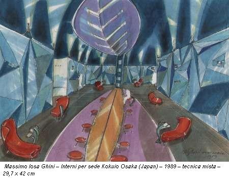 Massimo Iosa Ghini – Interni per sede Kokuio Osaka (Japan) – 1989 – tecnica mista – 29,7 x 42 cm