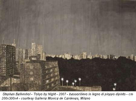 Stephan Balkenhol - Tokyo by Night - 2007 - bassorilievo in legno di pioppo dipinto - cm 200x300x4 - courtesy Galleria Monica de Cardenas, Milano