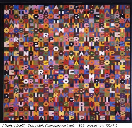 Alighiero Boetti - Senza titolo (immaginando tutto) - 1988 - arazzo - cm 105x115