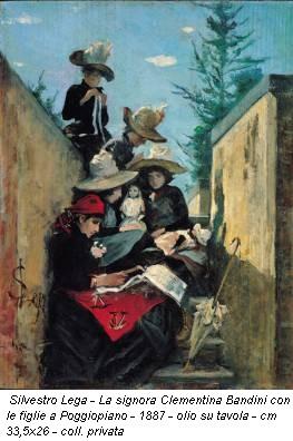 Silvestro Lega - La signora Clementina Bandini con le figlie a Poggiopiano - 1887 - olio su tavola - cm 33,5x26 - coll. privata