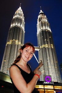 Kuala Lumpur - Petronas Twin Towers at Night with Chrissy