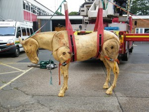 Dobbin, the horse manikin at Barnstaple Fire Station.  Photo by Avril Stone.