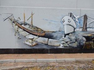 Watchet's nautical heritage is depicted in the mural