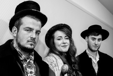 Left to right: Matthew Legg (playing Bill Sikes), Felix Harkness-Jones (playing Nancy) and Tom Strachan (playing Fagin).