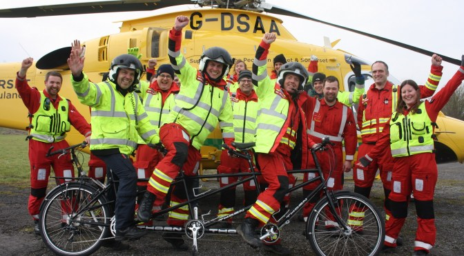 AIR AMBULANCE COAST TO COAST CYCLISTS RARING TO GO!