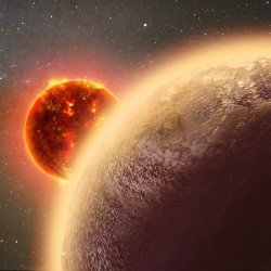 Artist's impression of a Venus-like exoplanet orbiting close to its host star. [CfA/Dana Berry]