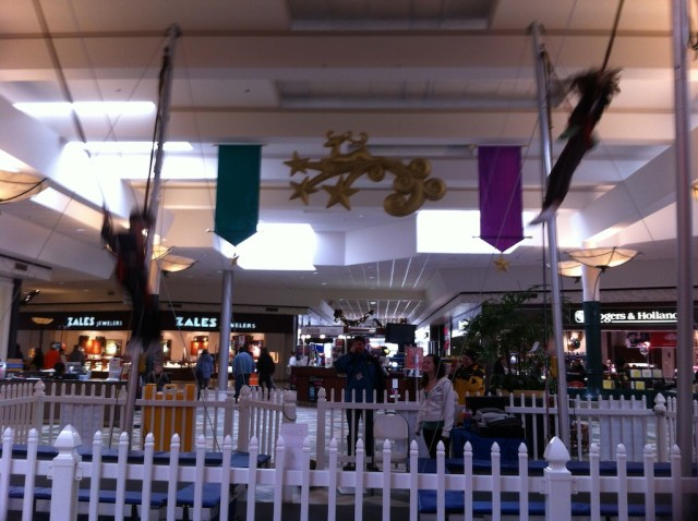 Look closely, you see my grandkids Drew (left) and Kiera (right) flying (bungy jumping) at the mall, yesterday.