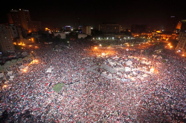 Protesters opposing Egyptian President Mohamed Mursi gather during a demonstration at Tahrir Square in Cairo