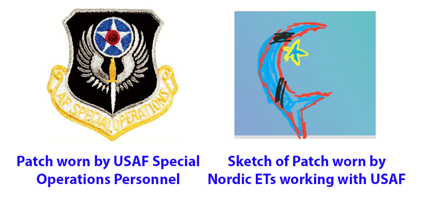 Майкл Салла - Контакт с пришельцами-нордиками в служебной форме ВВС США и фотографии их корабля Comparison-of-Patches-AFSO-and-Nordics