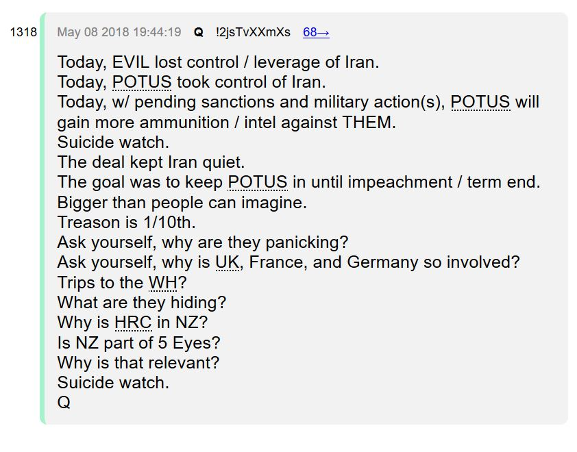 QAnon on How Ending Iran Peace Deal Thwarts Deep State Plans