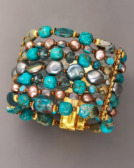 Jose Amp Maria Barrera Seven Strand Turquoise Amp Pearl Bracelet