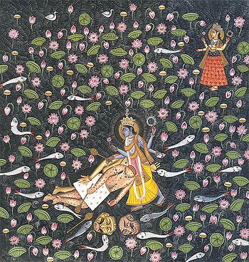 Lord Vishnu Slays Madhu and Kaitabh on His Thighs as Yoga Nidra The Great Goddess Looks On (From the Devi Mahatmya)