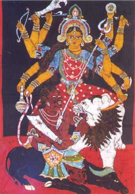 Batik Painting of Goddess Durga