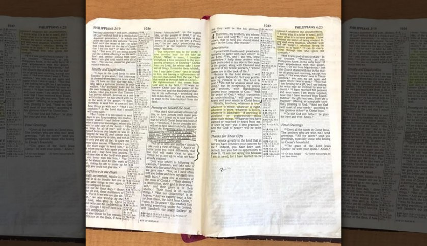 Open Bible that was seen on Air Force Maj. Steve Lewis' desk.