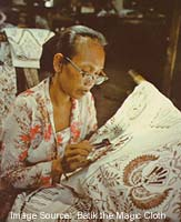 Applying wax with a canting to create Batik