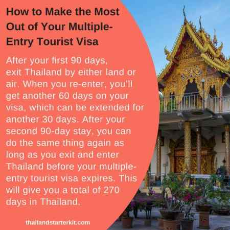 Here's how to make the most of your multiple-entry tourist visa: After your first 90 days, exit Thailand by either land or air. When you re-enter, you'll get another 60 days on your visa, which can be extended for another 30 days. After your second 90-day stay, you can do the same thing again as long as you exit and enter Thailand before your multiple-entry tourist visa expires. This will give you a total of 270 days in Thailand.