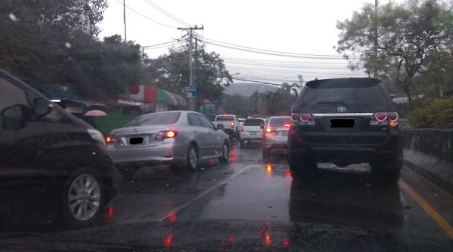 stuck in Bangkok traffic