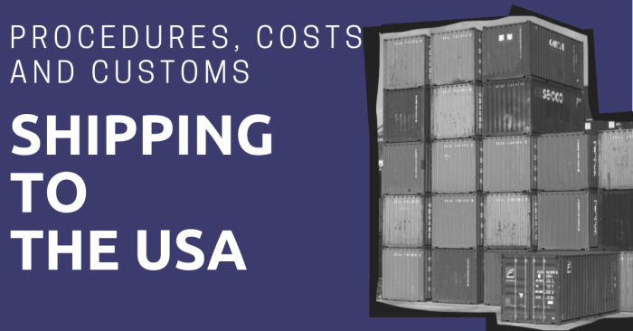Shipping containers stacked on top of each other with the title: Shipping to the USA: Procedures, Costs, and Customs
