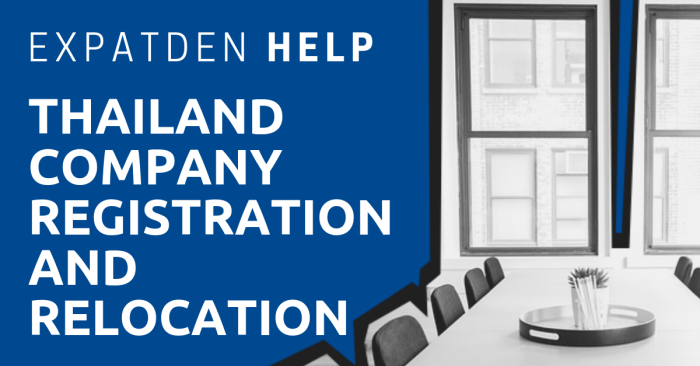 An office table and chairs with the title, ExpatDen: Thailand Company Registration and Relocation