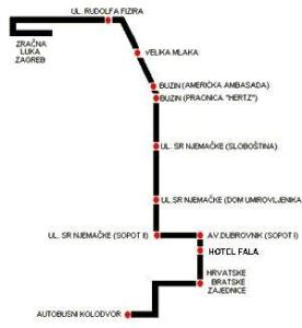 Zagreb Airport Bus Map