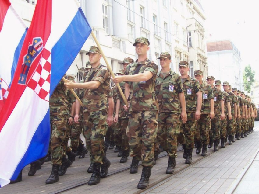Soldiers marching for Croatian Independence Day