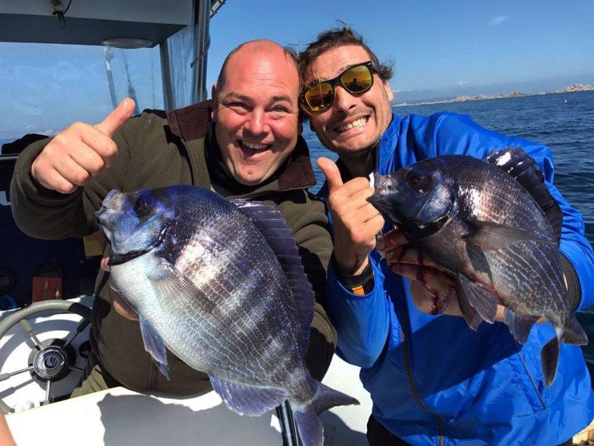 Two guys who caught kantar fish in Croatia