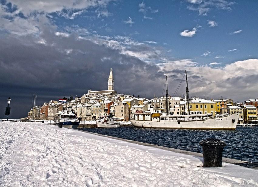 Rovinj, Croatia covered in snow