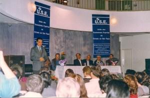 Divaldo Franco em evento na sede do extinto Instituto Espírita de Educação, em São Paulo.
