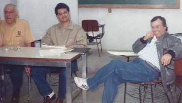 Jorge Rizzini, à esquerda, e Wilson Garcia, à direita. Fundação da AJE, Associação de Jornalistas Espíritas de São Paulo.