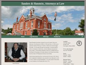 Sanders and Hanstein, Attorneys at Law Website Screenshot