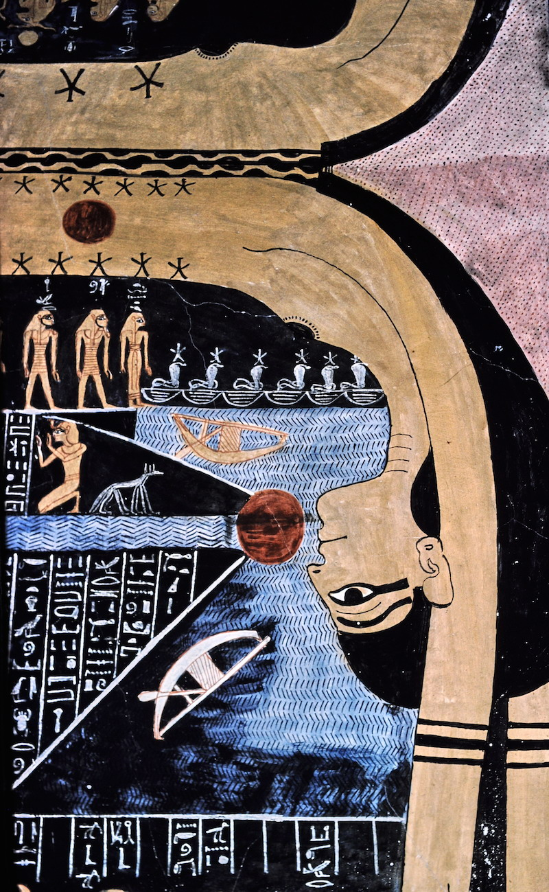 Ancient Egyptian Astrology. Nut swallowing the Sun. Tomb of Ramesses VI. Photo by: Hans Bernhard