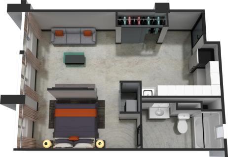 1 Bed / 1 Bath / 555 sq ft / $300.00 / Rent: $1,430
