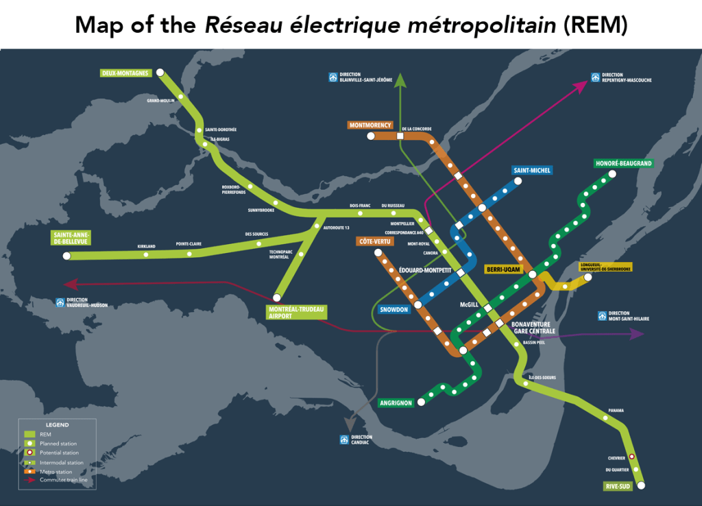 Montreal Light Rail Transit (REM) Map
